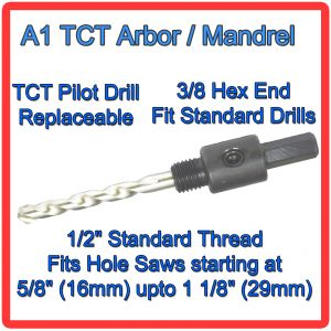 """3/8"""" Hex Arbor with TCT Pilot Drill  in Border"""