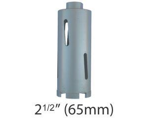 """2 1/2"""" (65mm) dia. X 150mm Long Sintered Diamond Core Drill Bit 5/8-11UNC Thread"""