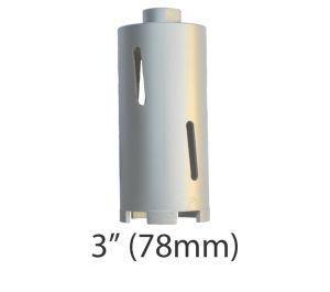 """3"""" (78mm) dia. X 150mm Long Sintered Diamond Core Drill Bit 5/8-11UNC Thread"""