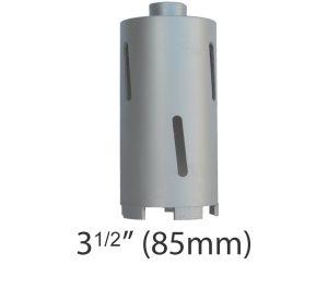 """3 1/2"""" (85mm) dia. X 150mm Long Sintered Diamond Core Drill Bit 5/8-11UNC Thread"""